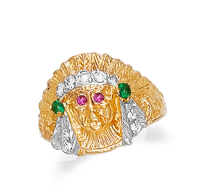 Gold Indian Head Mens Ring with Ruby and Emerald (4655)