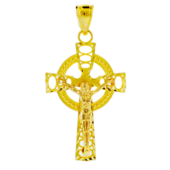 Two Tone Gold Celtic Crucifix Pendant