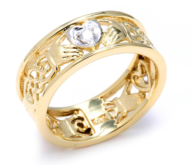 Two-Tone Gold Diamond Claddagh Wedding Band with Celtic Knot