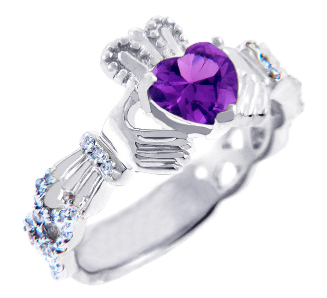 18K  White Gold Diamond Claddagh Ring With 0.4 Ct  Amethyst