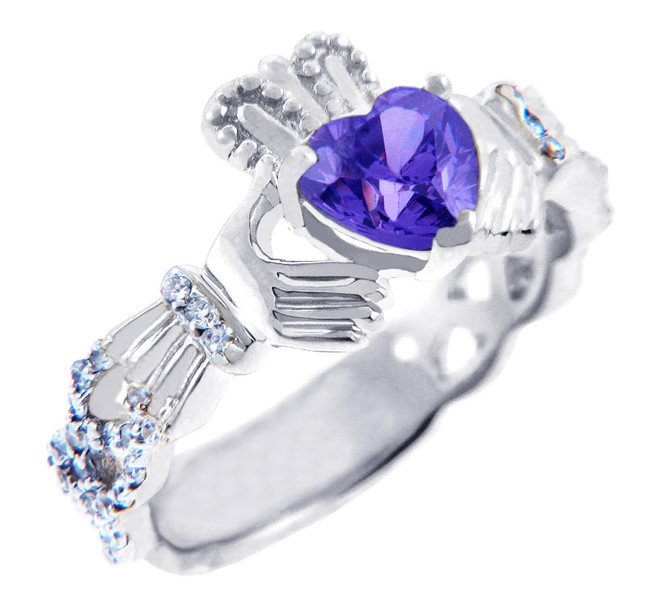 18K White Gold Diamond Claddagh Ring With 0.40 Ct Alexandrite
