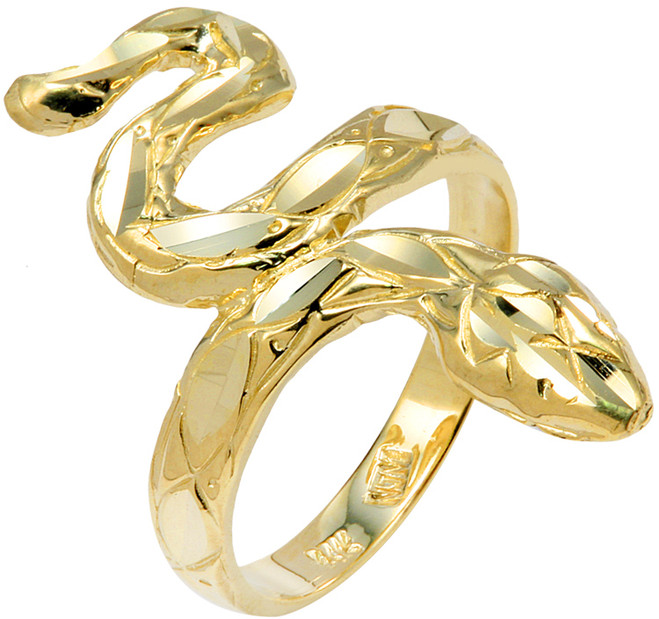 Yellow Gold Diamond Cut Snake Ring
