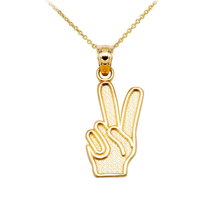 Yellow Gold Peace Hand Pendant Necklace
