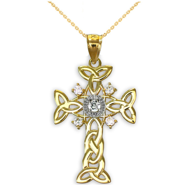 Two-Tone Gold Celtic Knot Trinity Cross Diamond Pendant Necklace