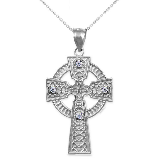 White Gold Celtic Cross Diamond Pendant