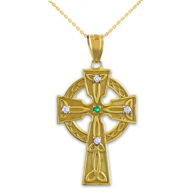 Gold Celtic Trinity Diamond Cross Pendant Necklace with Emerald