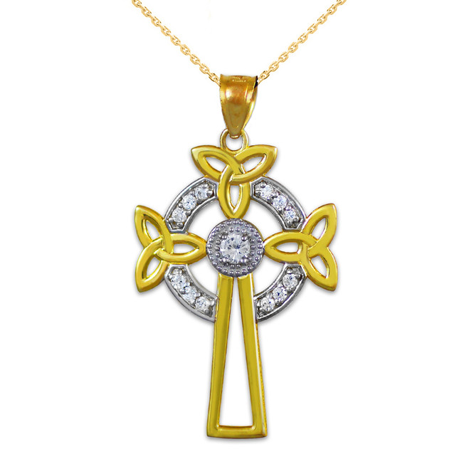 Two-Tone Gold Celtic Cross Trinity Knot Diamond Pendant Necklace