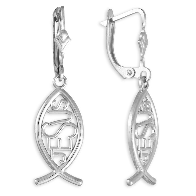 "925 Sterling Silver Ichthus ""JESUS"" Earrings"