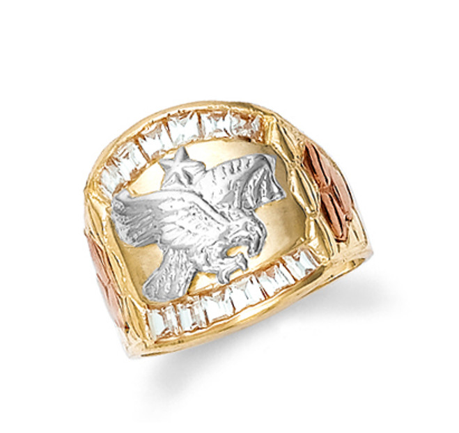 Gold Cubic Zirconia Eagle Mens Ring