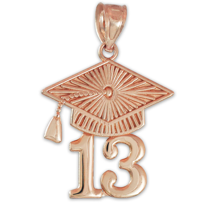 Rose Gold CLASS OF 2013 Graduation Cap Pendant