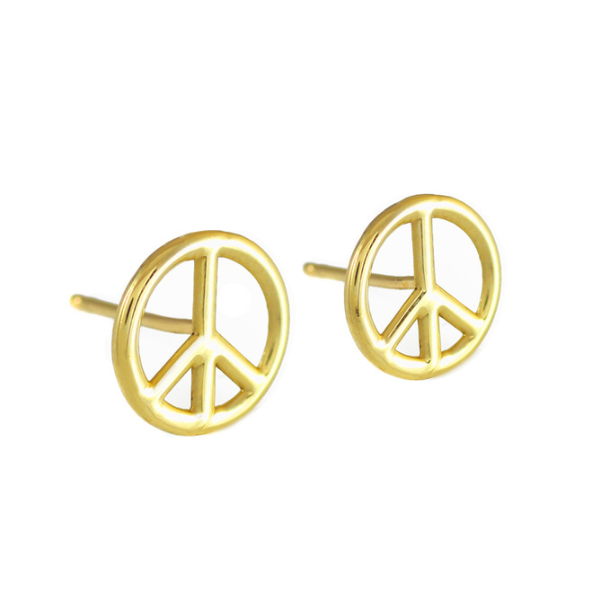 Peace Symbol Gold Post Earrings