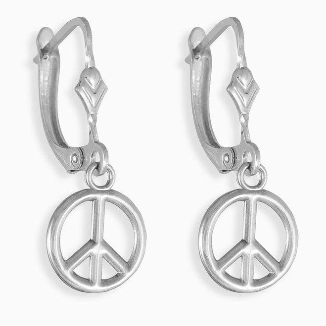 Small Peace Symbol Silver Earrings