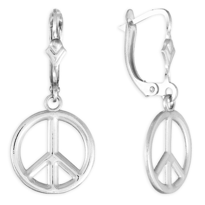 Sterling Silver Peace Symbol Earrings