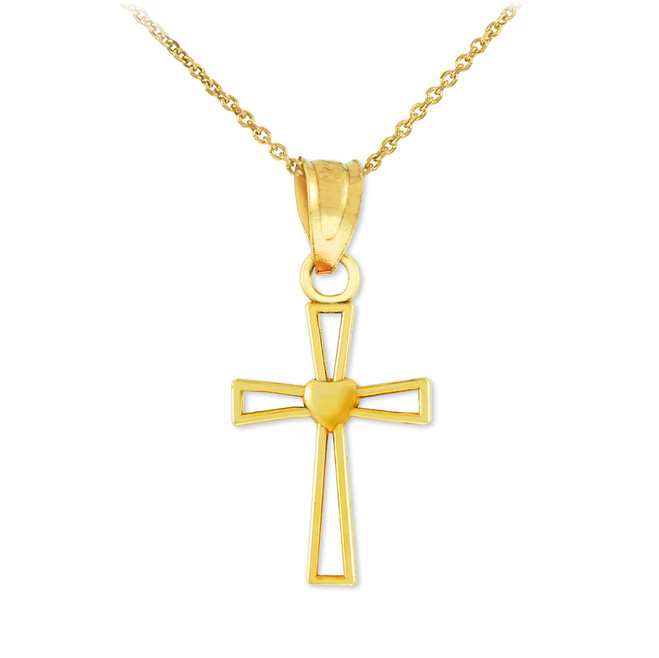 Gold Heart Cross Charm Pendant Necklace