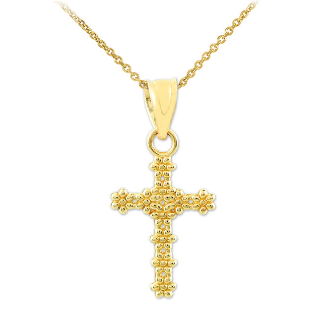 Gold Floral Cross Charm Pendant Necklace