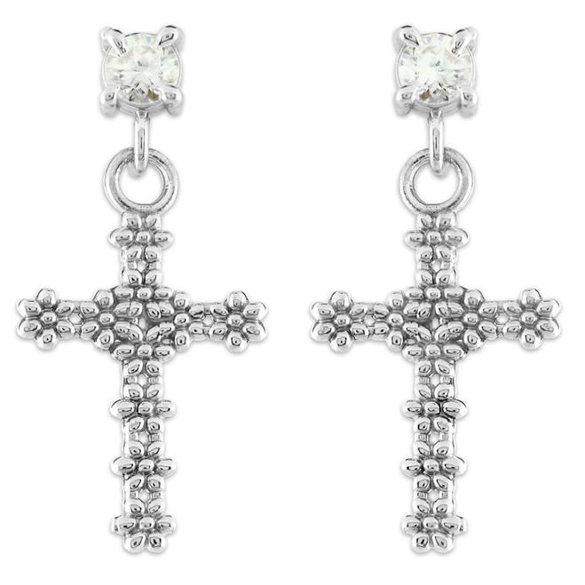 White Gold Floral Cross CZ Post Earrings