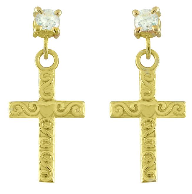 Gold Twirl Cross CZ Post Earrings
