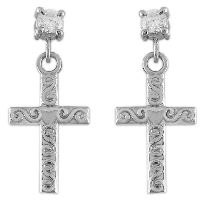 White Gold Twirl Cross CZ Post Earrings