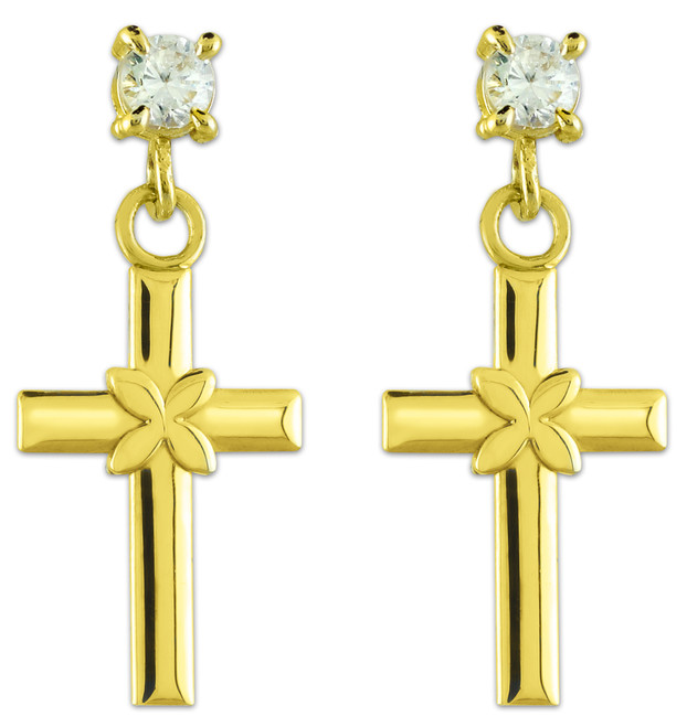 Gold Four Leaf Clover Cross CZ Post Earrings