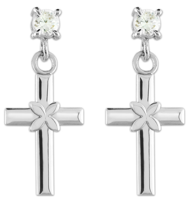 White Gold Four Leave Clover Cross CZ Post Earrings