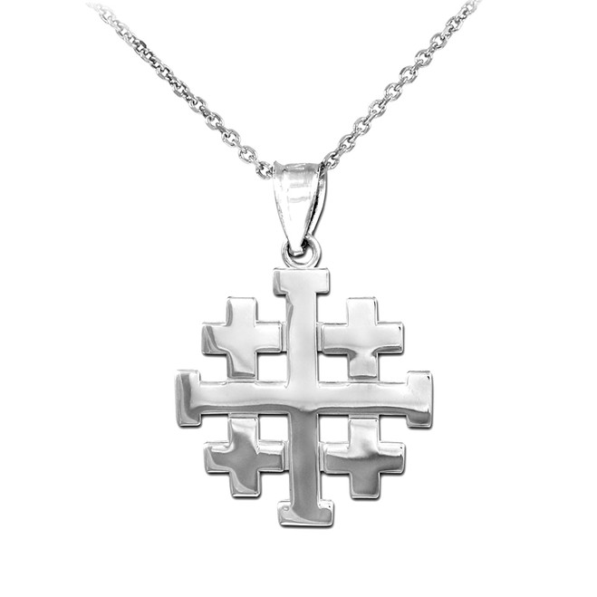 "Matte White Gold Jerusalem ""Crusaders"" Cross Pendant Necklace"