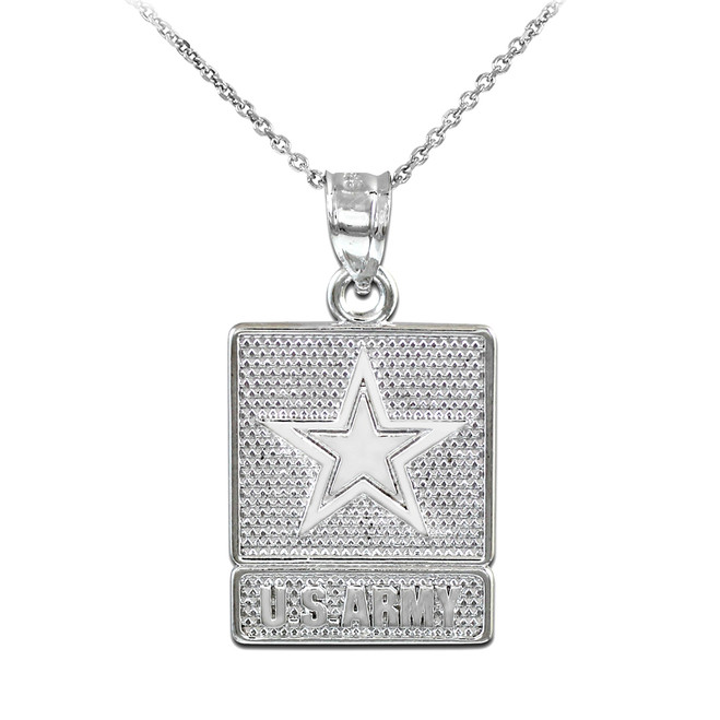 Sterling Silver US ARMY Pendant Necklace