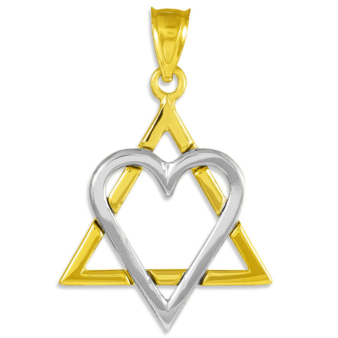 "Two-Tone Gold Star of David Heart Large Pendant (1.4"")"