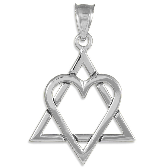 "White Gold Star of David Heart Large Pendant (1.4"")"