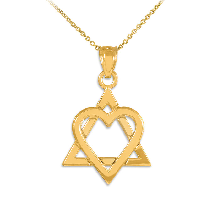 "Yellow Gold Star of David Heart Medium Pendant (1.1"")"