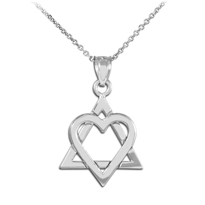 "White Gold Star of David Heart Medium Pendant (1.1"")"