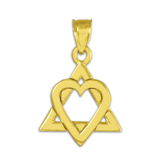 "Yellow Gold Star of David Heart Charm Pendant (0.9"")"