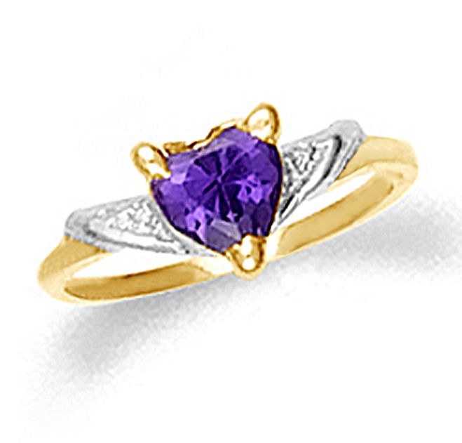 Baby Amethyst Heart Ring