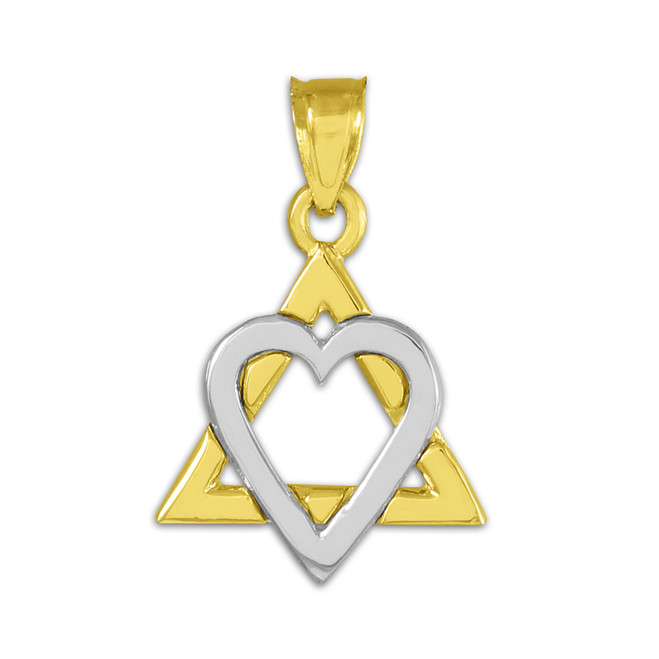"Two-tone Gold Star of David Heart Charm Pendant (0.9"")"