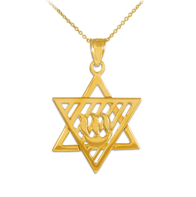 Yellow Gold Flaming  Star of David