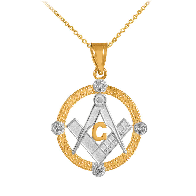 Two-Tone Gold Round Freemason Diamond Masonic Pendant Necklace