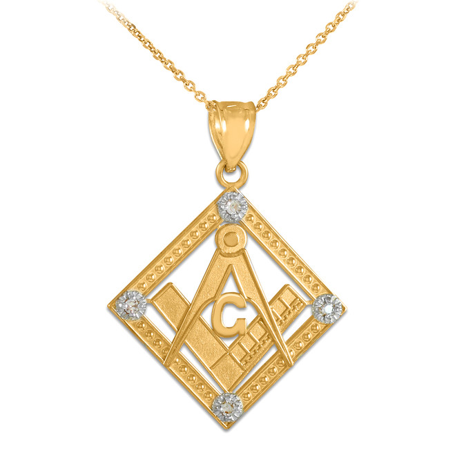 Yellow Gold Square Freemason Diamond Masonic Pendant Necklace