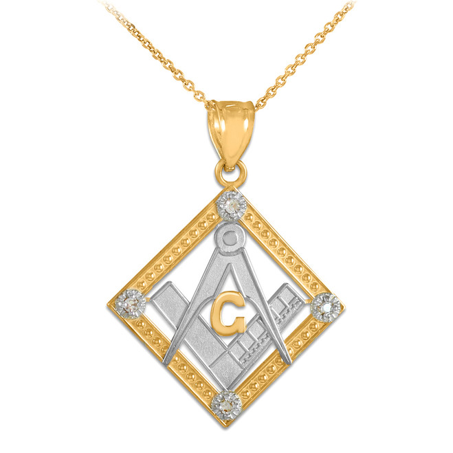 Two-Tone Gold Square Freemason Diamond Masonic Pendant Necklace