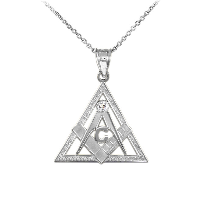 White Gold Triangle Freemason Diamond Masonic Pendant Necklace