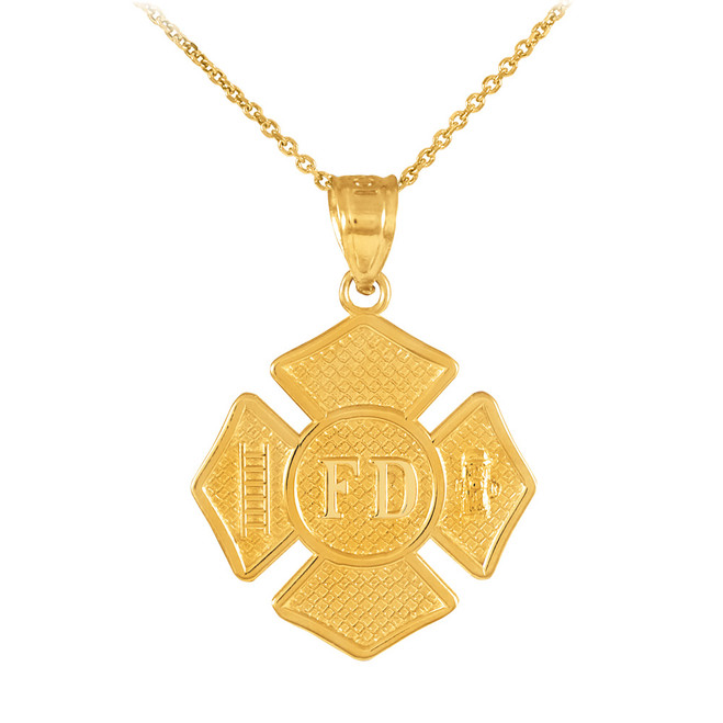 Solid Gold Fire Department Firefighter Badge Pendant  Necklace