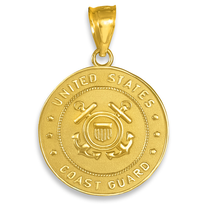 Gold US Coast Guard Coin Pendant