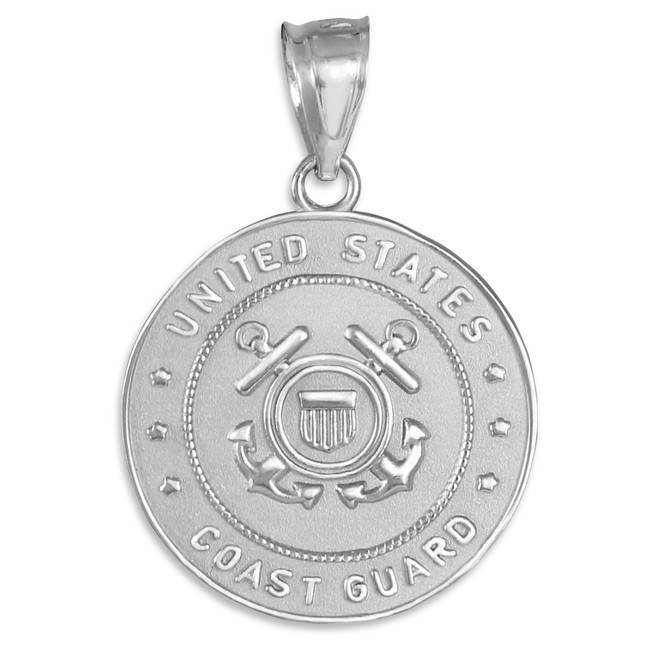 White Gold US Coast Guard Coin Pendant