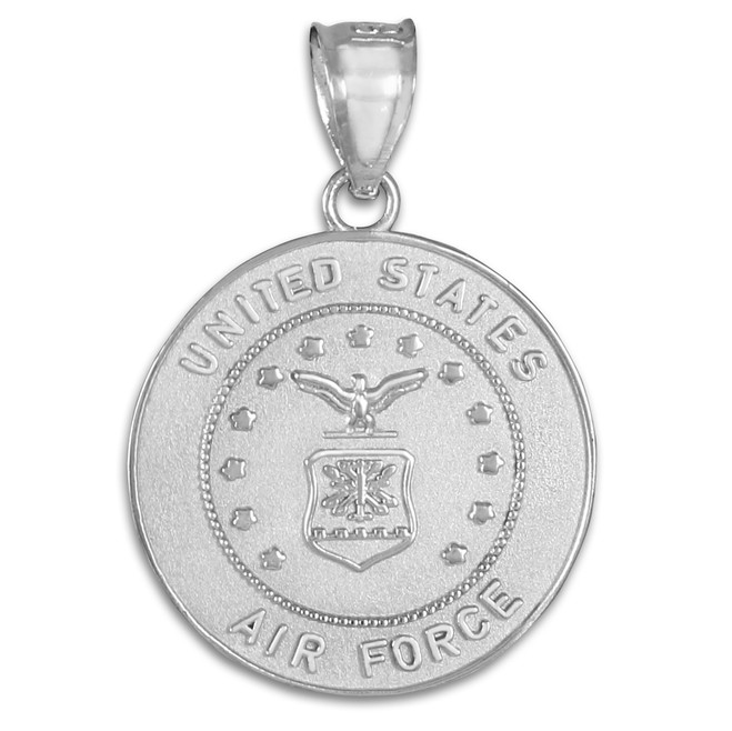 White Gold US Air Force Coin Pendant