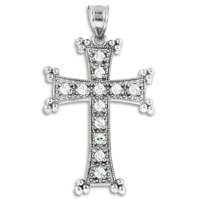 Sterling Silver Clear CZ Armenian Cross Pendant