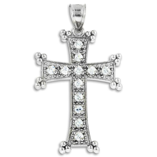 White Gold Armenian Cross CZ Pendant
