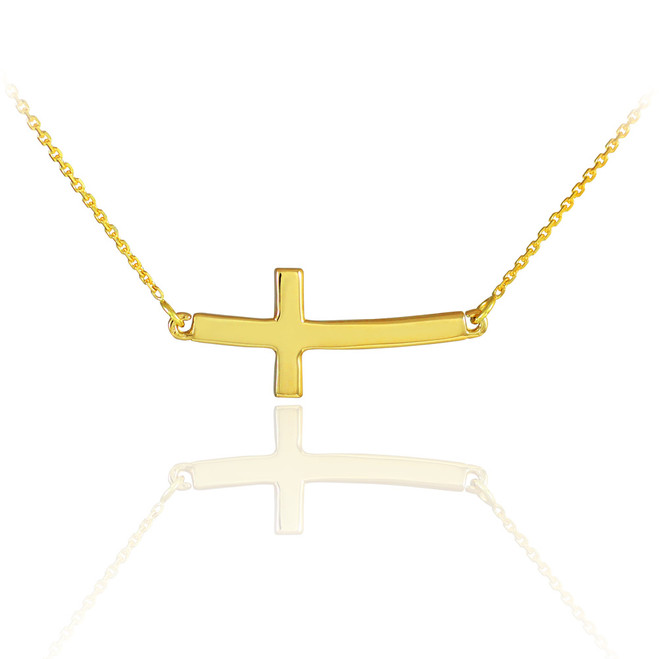 14K Solid Gold Sideways Curved Cute Cross Necklace | Gold Sideways Cross Necklace | Gold Curved Sideways cross necklace | Yellow Gold Sideways Cross Necklace
