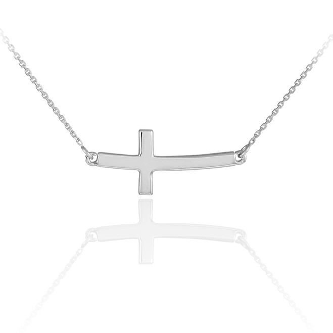 14K Solid White Gold Sideways Curved Cute Cross Necklace