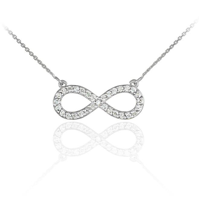 14K White Gold Diamond Infinity Pendant Necklace