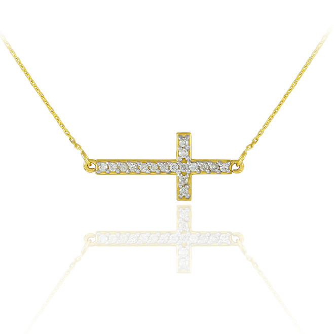 14K Gold Diamond Sideways Cross Necklace