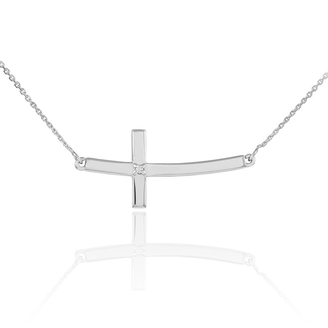 14K White Gold Sideways Curved Diamond Cross Necklace