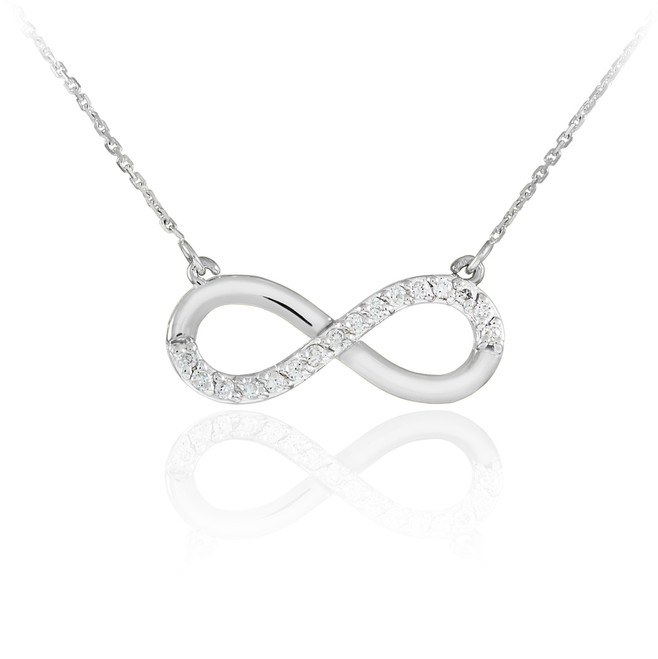 14K White Gold Infinity Polished Pendant Necklace with Diamonds
